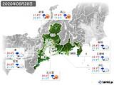 2020年06月28日の東海地方の実況天気