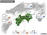 2020年06月28日の四国地方の実況天気