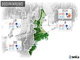 2020年06月28日の三重県の実況天気