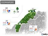 2020年06月28日の島根県の実況天気
