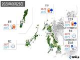 2020年06月28日の長崎県の実況天気