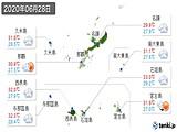 2020年06月28日の沖縄県の実況天気