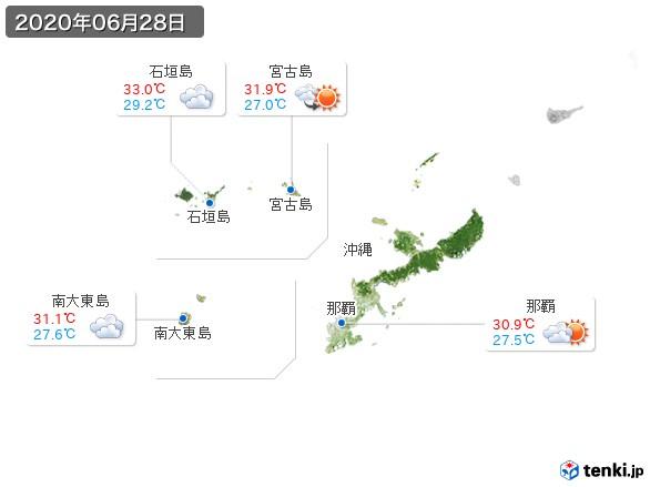 沖縄地方(2020年06月28日の天気