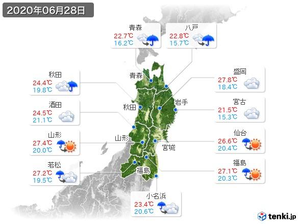 東北地方(2020年06月28日の天気