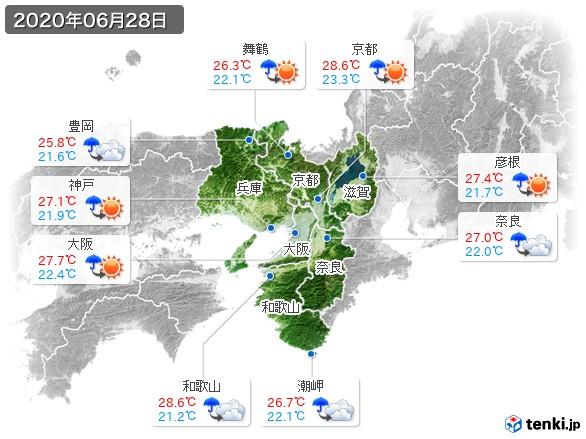 近畿地方(2020年06月28日の天気