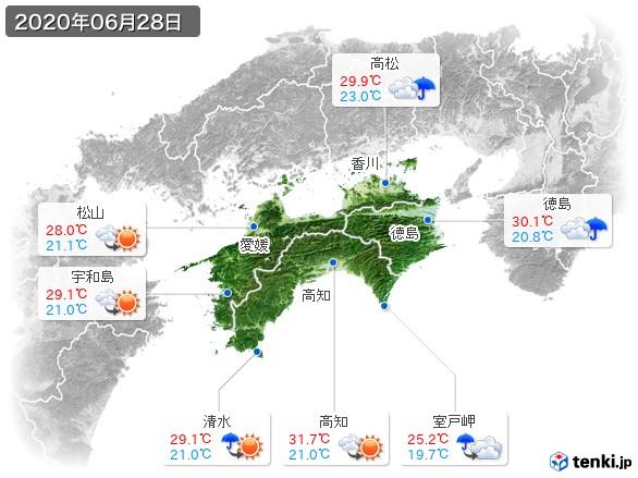 四国地方(2020年06月28日の天気