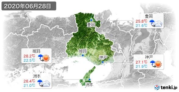 兵庫県(2020年06月28日の天気