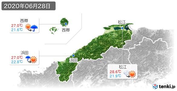 島根県(2020年06月28日の天気
