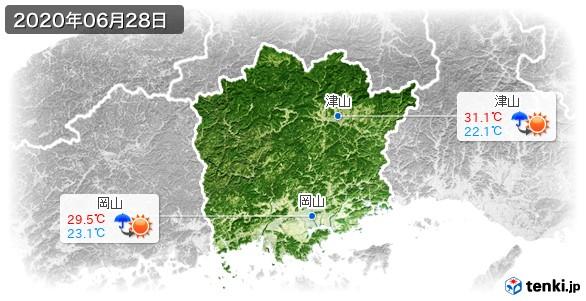 岡山県(2020年06月28日の天気