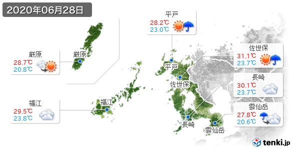長崎県(2020年06月28日の天気