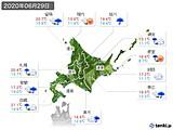 2020年06月29日の北海道地方の実況天気