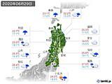 2020年06月29日の東北地方の実況天気