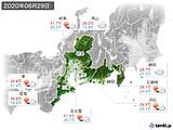 2020年06月29日の東海地方の実況天気
