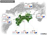 2020年06月29日の四国地方の実況天気