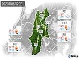 2020年06月29日の長野県の実況天気