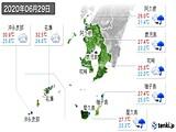 2020年06月29日の鹿児島県の実況天気