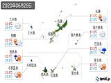 2020年06月29日の沖縄県の実況天気