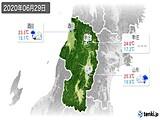 2020年06月29日の山形県の実況天気