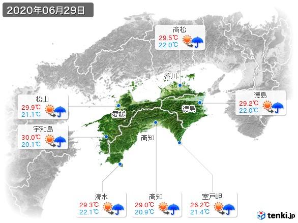 四国地方(2020年06月29日の天気