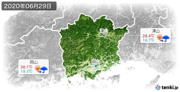岡山県(2020年06月29日の天気