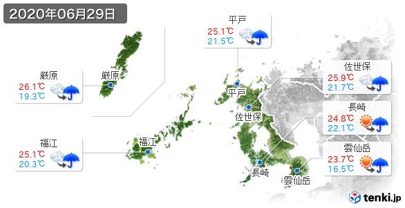 長崎県(2020年06月29日の天気