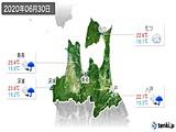 2020年06月30日の青森県の実況天気
