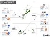 2020年06月30日の沖縄県の実況天気