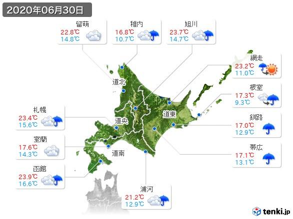 北海道地方(2020年06月30日の天気