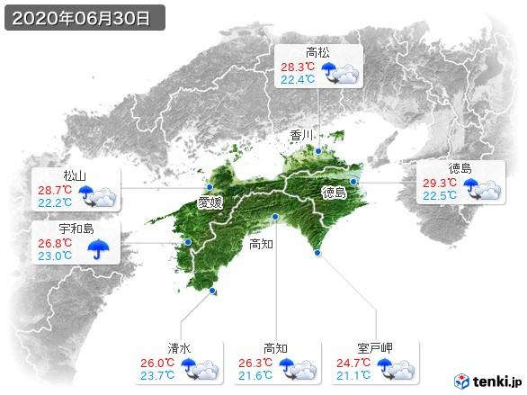 四国地方(2020年06月30日の天気