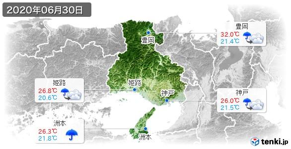 兵庫県(2020年06月30日の天気