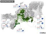 2020年07月01日の東海地方の実況天気