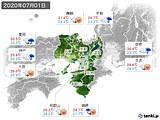 2020年07月01日の近畿地方の実況天気