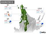 2020年07月01日の道北の実況天気