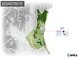 2020年07月01日の茨城県の実況天気
