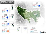 2020年07月01日の東京都の実況天気