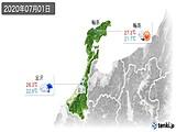 2020年07月01日の石川県の実況天気