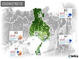 2020年07月01日の兵庫県の実況天気