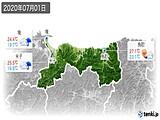 2020年07月01日の鳥取県の実況天気
