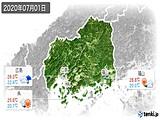 2020年07月01日の広島県の実況天気