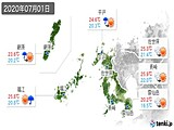 2020年07月01日の長崎県の実況天気