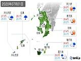 2020年07月01日の鹿児島県の実況天気