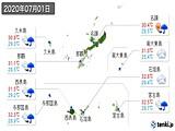 2020年07月01日の沖縄県の実況天気