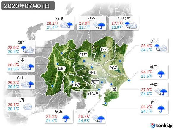 関東・甲信地方(2020年07月01日の天気
