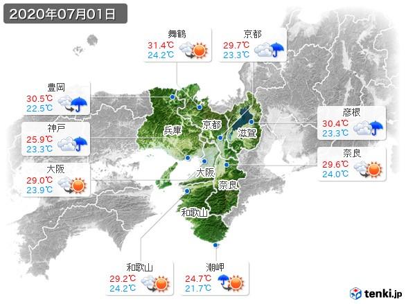 近畿地方(2020年07月01日の天気