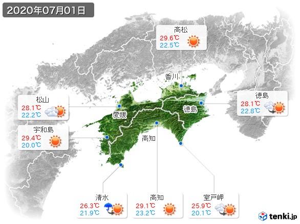 四国地方(2020年07月01日の天気