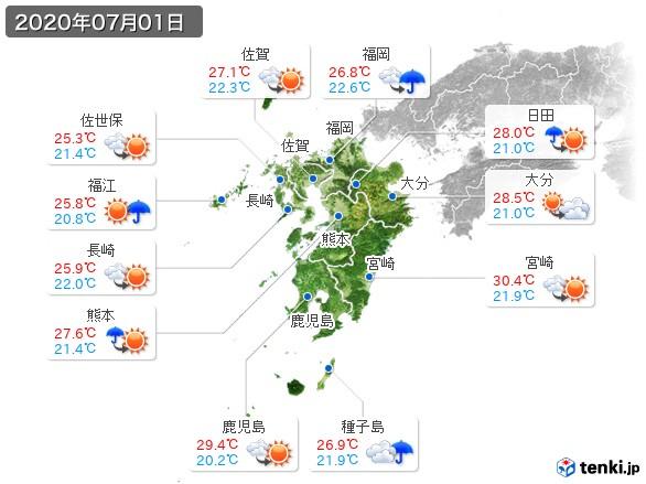 九州地方(2020年07月01日の天気