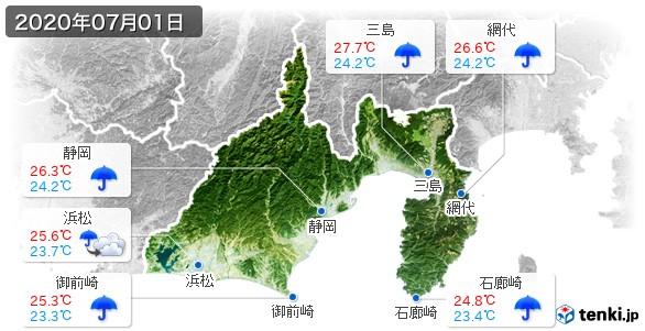 静岡県(2020年07月01日の天気