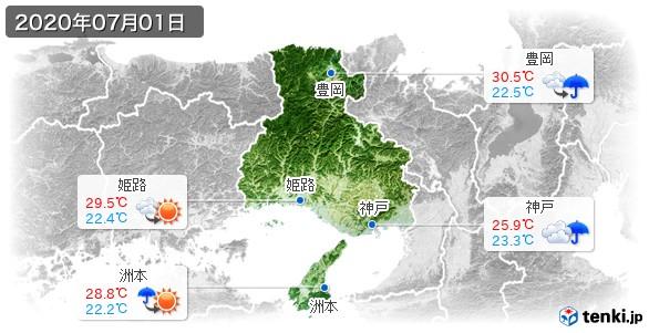 兵庫県(2020年07月01日の天気