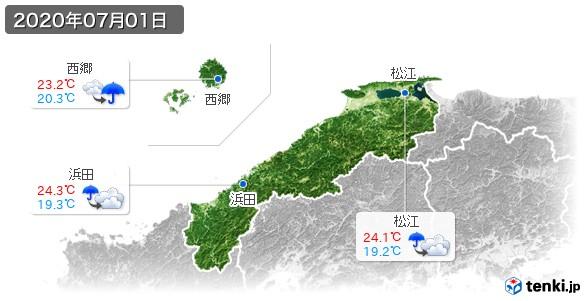 島根県(2020年07月01日の天気