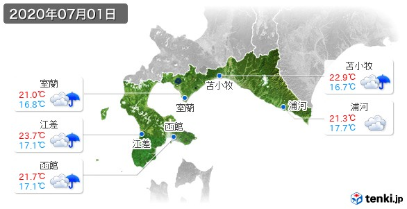 道南(2020年07月01日の天気